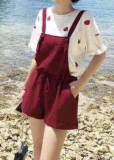 短袖Tee+吊帶短褲