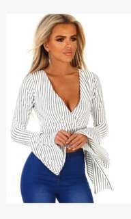 stripe wrap top