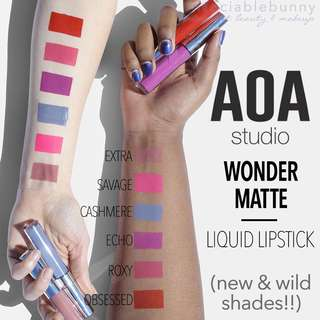 🆕 Wild Matte Shades Liquid Lipsticks. US AOA Studio Cruelty-free Cosmetic Makeup INSTOCK