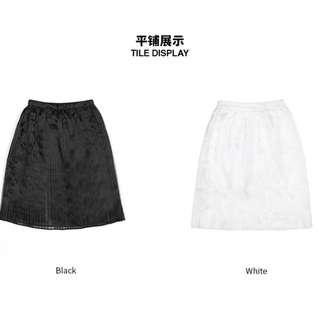 b+ab🐧褶皺短裙 夏季個性網紗半透明純色潮流時尚