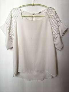 韓款白色微透OL襯衫