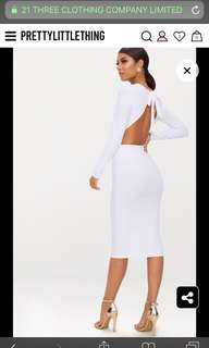 White Backless Bow Detail Midi Dress