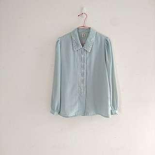 🚚 (免運)巴黎古著超仙刺繡淺湖水柔軟長袖襯衫