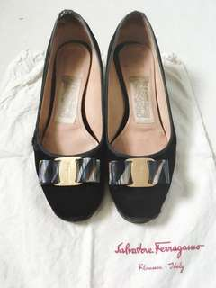 Salvatore Ferragamo Black Suede Medium Heels