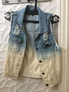 Outer ombre studded denim