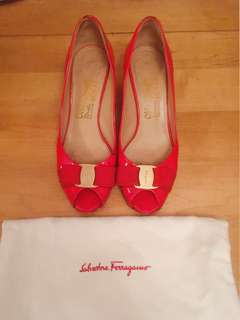 Salvatore Ferragamo Red Patent Open Toe Sandal Heels