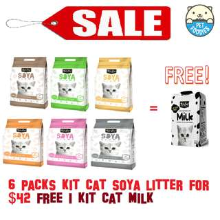 [Pet Foodies] PROMO!! Buy 6 Kit Cat Soya Litter for $42 and Get 1 Kit Cat Milk for FREE