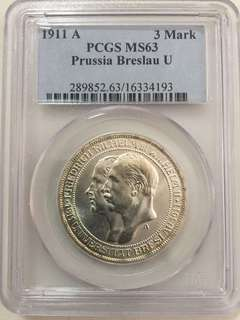 Germany Prussia Breslau U , 3 Mark 1911 Silver Coin PCGS  MS63 .