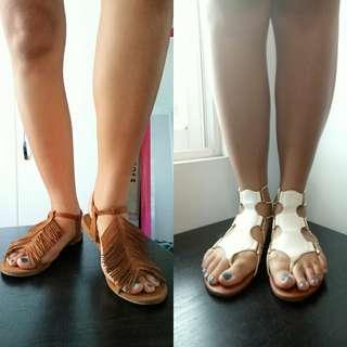 White Strappy Gladiator & Fringe Sandals