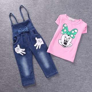 Baby cartoon Minnie T-Shirt + Denim Overalls Suits