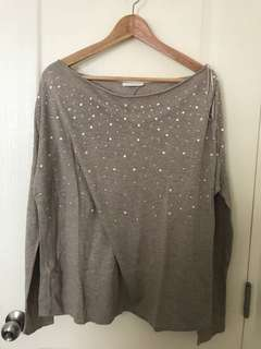 Promod Gray Oversized Top