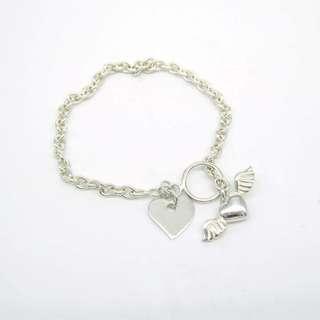 925 silver love angle wing bracelet 925純銀愛心天使手鏈