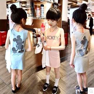 Girl Cartoon Stretch Cotton Vest Skirt Dress