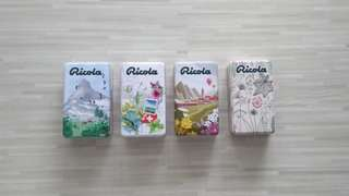 04 x Ricola Metal Tin Containers