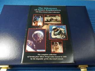1989 The Milestones of Space Exploration 24X $50 Silver Proof Coins Collection
