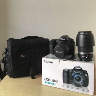 Canon 60D 18-55mm (Fullset) + 55-250mm + Bonus Tas Lowerpro