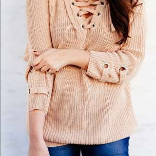 BNWT Lace Up Sweater