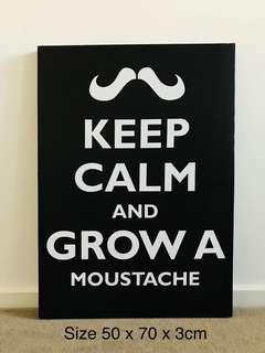 """Keep Calm And Grow A Moustache"" Canvas Wall Art Print"