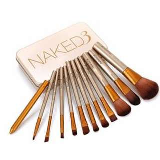 12pcs New Naked 3 Makeup Brushes Gold