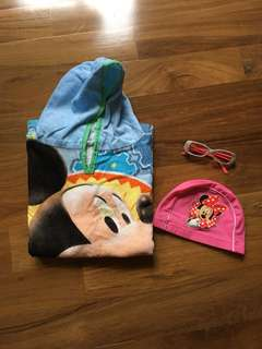 Swim towel, swim cap and sunglasses