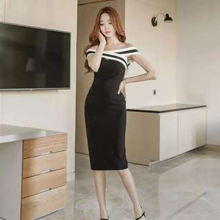 Monochrome Off Shoulder Bodycon Midi Dress