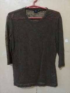 U2 Brown See Through Blouse