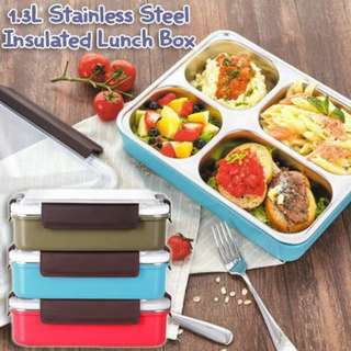 1.3L Stainless Steel 5 Compartment Insulated Lunch Box  Ready stock