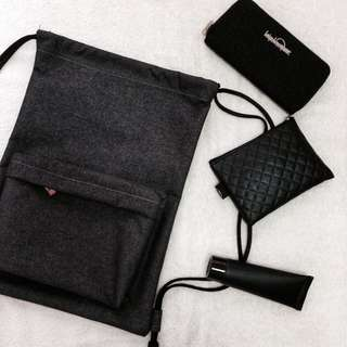 Black Backpack Drawstring