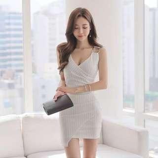 Stripes V Neck Asymmetrical Bodycon Dress