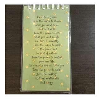 Inspirational Motivational Green Notepad