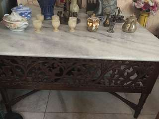 Meja marmer kaki kayu ukir antik model lama