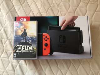 Nintendo Switch (Neon red and blue) with Legend of Zelda: Breath of the wild