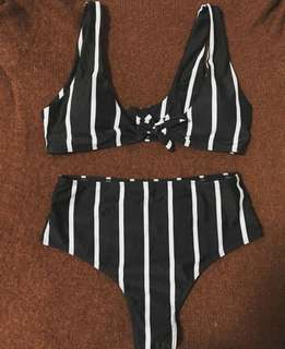 Black and white stripes bikini
