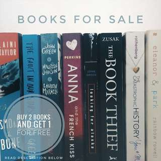 Fictional Novel Books for Sale (Pre-loved)