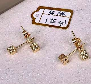 Authentic 18k saudi gold earring cube design