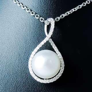 全新18K白金 天然南洋珍珠鑲44份鑽石吊咀 --001095-86