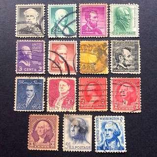美國郵票 舊票15枚