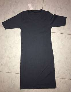Bodycon dress grey gray brand new free size stretchable