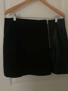 F&F Black Skirt with Faux Leather Details