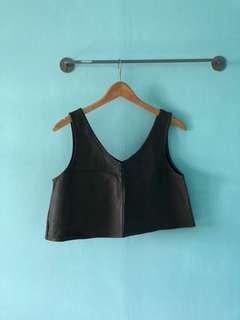 Grey PU leather crop top