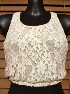Cropped lace overlay singlet