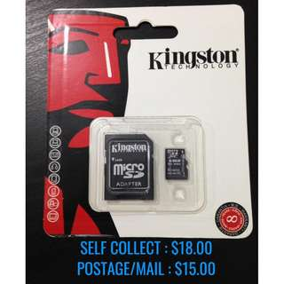 64GB Kingston Micro SD Class 10 Memory Card 100% NEW!