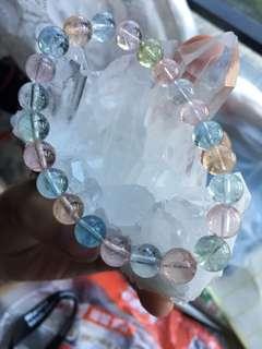 透體彩虹 摩根石 海藍寶 8.5mm天然水晶手鏈