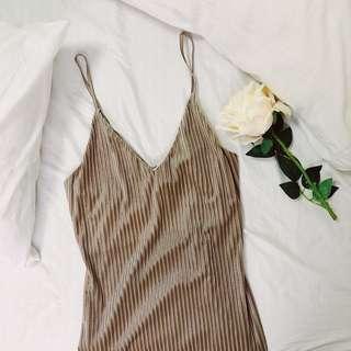 Love Culture Velvet Striped Cami Dress