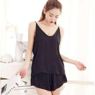(161)1set (2 in 1) Sexy Sleepwear Lace Deep V pajamas Sling Shorts Nightwear set