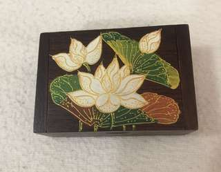 Vintage Floral Design Wooden Jewellery Box