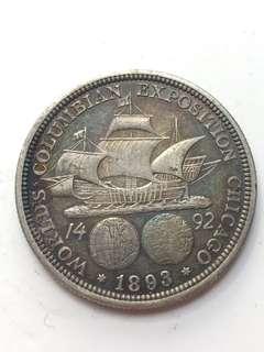 1893年 美國博覽會銀幣 半圓 half dollar 銀幣