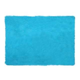 Square Blue Mint Fur Rug 200 x 150