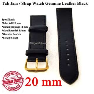 Grosir Tali Jam Tangan Genuine Leather Black 20mm