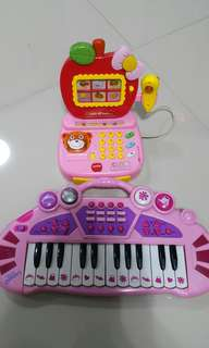 Mini apple cashier and piano Toys